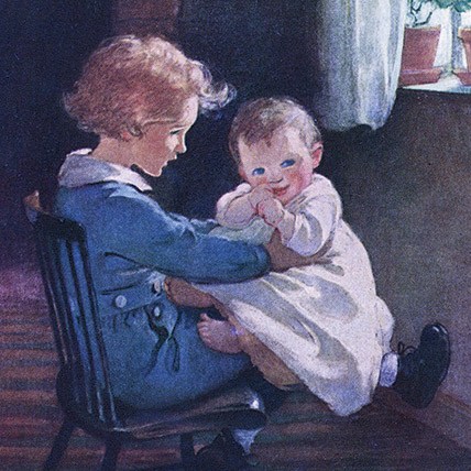 Boy with a baby in his lap - Illustration by Jessie Willcox Smith